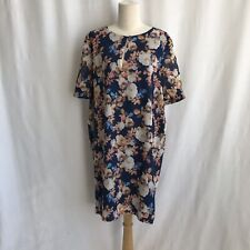 J.Crew Navy Blue Floral Rose Print Short Sleeve Silk Dress Size 12