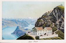 1870 Schweiz Luzern Vierwaldstättersee Pilatus kolorierte Aquatina-Ansicht
