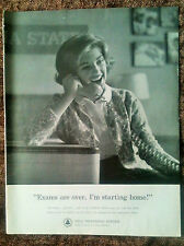 """1960 Original Print Ad - Bell Telephone System - """"Exams are over."""""""
