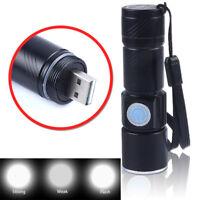 Portable Mini Pocket Zoomable USB Rechargeable LED Light Flashlight Torch LamC9G