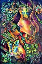 LOVE 60's-70's Psychedelic Woman & Butterfly Art Sticker or Magnet
