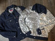 NWT Levi's Allied 700 Down Denim Reversible Silver Lined Puffer Jacket Small S