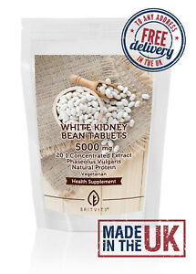 White Kidney Bean 5000mg Tablets Natural Protein ✔Made in UK