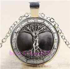 Love Tree Of Life Cabochon Glass Tibet Silver Chain Pendant Necklace