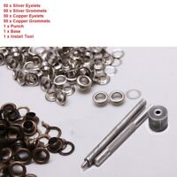 100 Sets Eyelet Grommet Washer Kit Punch Die Tool Leather Craft DIY 10mm 12mm