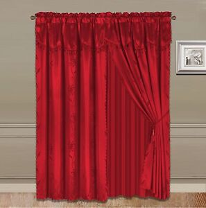 8-Piece RED Nada Luxury Faux Jacquard Floral Panel Window Curtain DRAPE SET