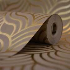 Muriva Precious Silks Art Deco Wallpaper Beige / Gold - 601534