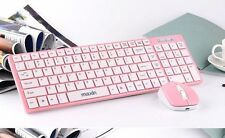 PINK 2.4G USB Optical Wireless Keyboard and Mouse Cordless For PC Laptop