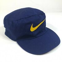 Vintage Nike Snapback Hat Cap Navy Blue Yellow Swoosh Logo Stacked Hat