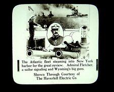 3 Magic Lantern Slides USS Wyoming Atlantic Fleet Hudson River NYC 1915 US Navy
