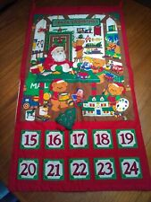 Vintage Christmas Advent Fabric Wall Hanging Calendar A Beary Santa's Workshop