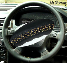 FOR LANDROVER DISCOVERY 89-10 BLACK LEATHER STEERING WHEEL COVER BEIGE STITCH