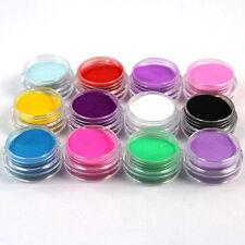 12 Pcs Mix Colori Acrilico Nail Art Polvere polvere Decorazione per Tips