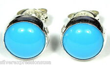 6mm Round Blue Sleeping Beauty Turquoise 925 Sterling Silver Stud Earrings