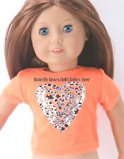 Metallic Animal Print Heart T-Shirt 18 in Doll Clothes Fits American Girl