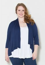 Plus Size Cardigan 1X-6X Black Navy Purple Solid Rayon Spandex SWAK 3/4 Sleeves
