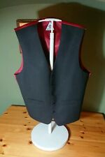 "Men's Lambretta Black Waistcoat Beautiful Dark Red Lining 38"" Chest Size S"
