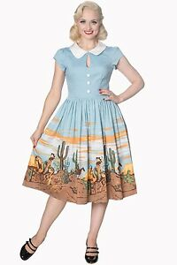BRAND NEW BANNED Womens 50s Rockabilly Western Cactus Collar Magical Day Dress