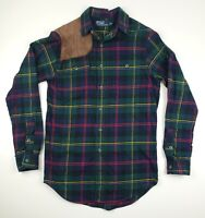 Polo Ralph Lauren Suede Leather Patch Hunting Work Flannel Button Down Small