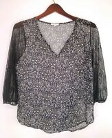 Pleione Womens Blouse Black Floral and Lace Long Sleeve Sheer Vneck Size Medium
