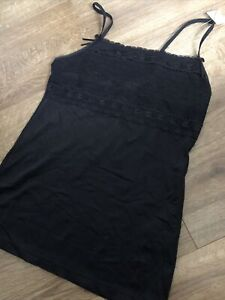 Marks And Spencer Black Cami Vest Size 8 Brand New