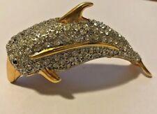 Large Vintage Estate Gold Tone Pave Rhinestone Dolphin Shoulder Brooch Pin