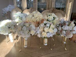 7 Bride Bridesmaids Bouquet Stand Holder Wedding Reception Display Centerpiece