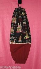 Handmade Grocery Bag/Rag Dispenser - Bottles of wine, glasses, sayings