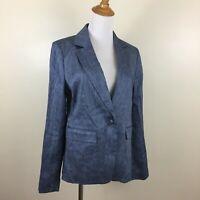$118 NWT ANN TAYLOR LOFT Womens Sz 4 Blue White Specks Linen Blend Blazer Jacket
