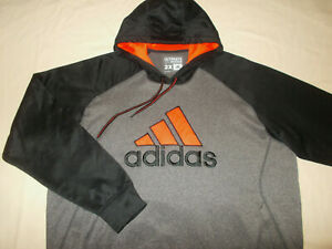 ADIDAS CLIMAWARM GRAY & BLACK HOODED SWEATSHIRT MENS 2XL EXCELLENT CONDITION