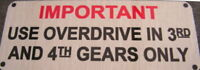Land Rover Series 1 2 3 Overdrive Information Warning Bulkhead vin chassis Plate