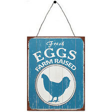 "Vintage Look Metal Plaque ""Fresh Eggs Farm Raised"" Novelty Wall Sign 25cm x 33cm"