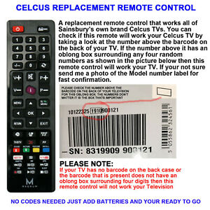 CELCUS TV REMOTE CONTROL A REPLACEMENT THAT WORKS ALL CELCUS LCD/LED MODELS