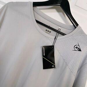 Dunlop Men's Game S/S Shirt Mesh Grey Crewneck Tennis Activewear Size 3XL