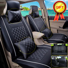 Auto Car Seat Cover PU Leather 5-Seats Front & Rear W/Neck Lumbar Pillow Size M