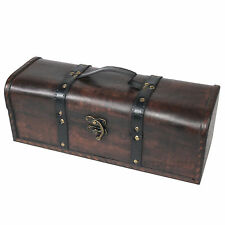 Rectangular Long Wine Bottle Storage Case Gift Box Vintage Wooden Crate Carrier