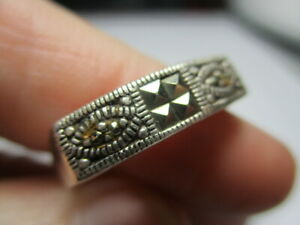 STERLING SILVER 925 ESTATE VINTAGE REPAIR MARCASITE BAND RING SIZE 8.75