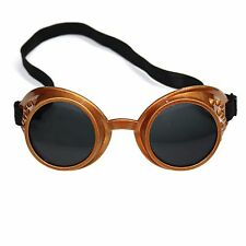 Steampunk Cybergoth Vintage Rave Cyber Goth Goggle Glasses - Bronze / Black