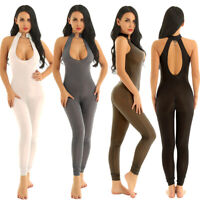 Womens Zipper Sheer Leotard Bodysuit Sleeveless Jumpsuit Catsuit Clubwear Romper