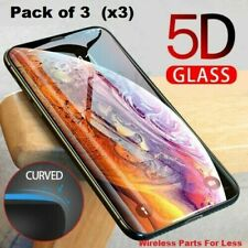 Full Coverage Tempered Glass Screen Protector For iPhone X Xs 11 12 Pro/Max 3-Pk