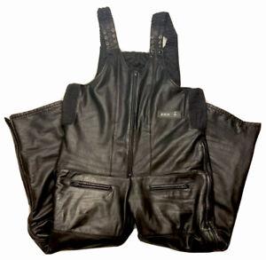 VTG CKX Mens 3XL XXXL Black Insulated Leather Winter Snowmobile Bibs EXCELLENT