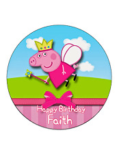 Peppa Pig Fairy Edible Cake Image Personalised Birthday Decoration Party Topper