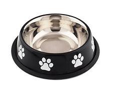 Cuenco de acero inoxidable con contorno Antideslizante Negro Perro Gato Ecuelle