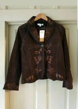 NWT ColdWater Creek Womens Suede Leather Jacket Brown Small Beaded Coat NC