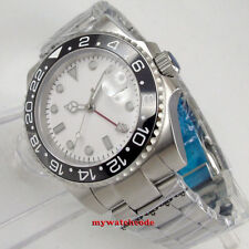 40mm bliger white sterile dial GMT ceramic sapphire glass automatic mens watch