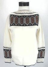 MADEWELL 100% Merino Wool Sweater Cream Brown Black Geometric Women's S $125 New