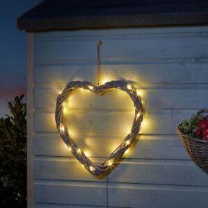 Smart Solar Wicker Heart  Door Garden Ornament - Grey