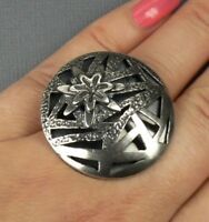 Addy Ronen LARGE Flower Round Sterling SILVER Ring size 6