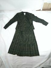 KORET DRESS PETITE SKIRT SUIT OLIVE GREEN FLORAL PATTERN SIZE 14P