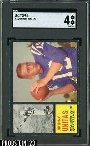 1962 Topps Football #1 Johnny Unitas Baltimore Colts HOF SGC 4 VG-EX